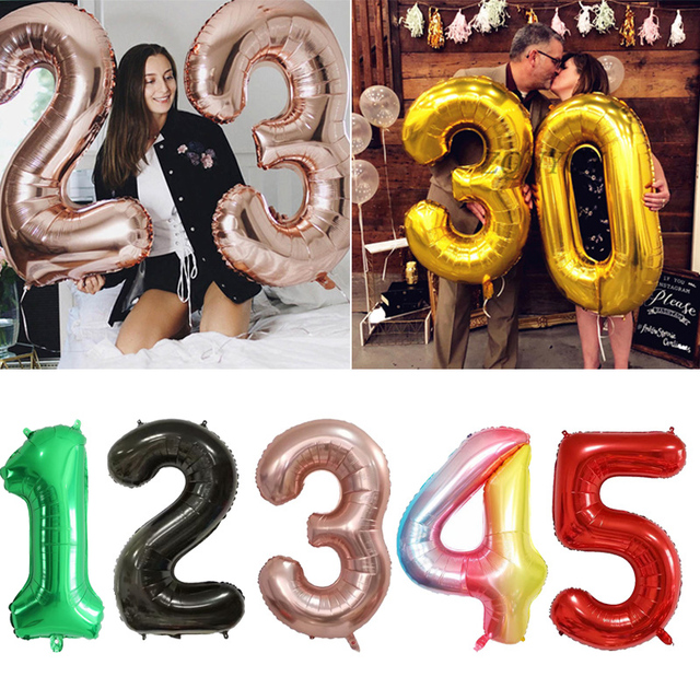 Big Gold Sliver Pink Foil Helium Number Balloons Happy Birthday Party Decorations Boy Kids Toy Figures Wedding Ballon Air Globos