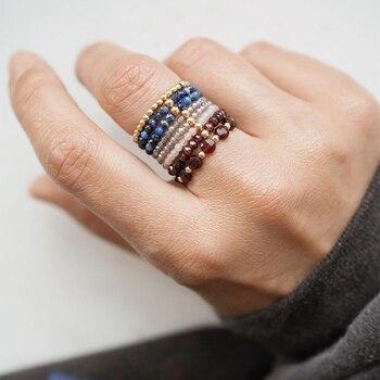 Чешские Мини бусины кольца из натурального камня, ювелирное изделие, многоцветная Цвет ручной работы кольца Эластичный регулируемый модные подарки туфли на высоком каблуке для девочек