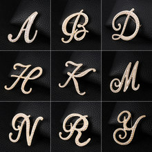 WEIMANJINGDIAN New Arrival Simulated Pearl Letters Initial Brooch Pins in Gold Color Plated