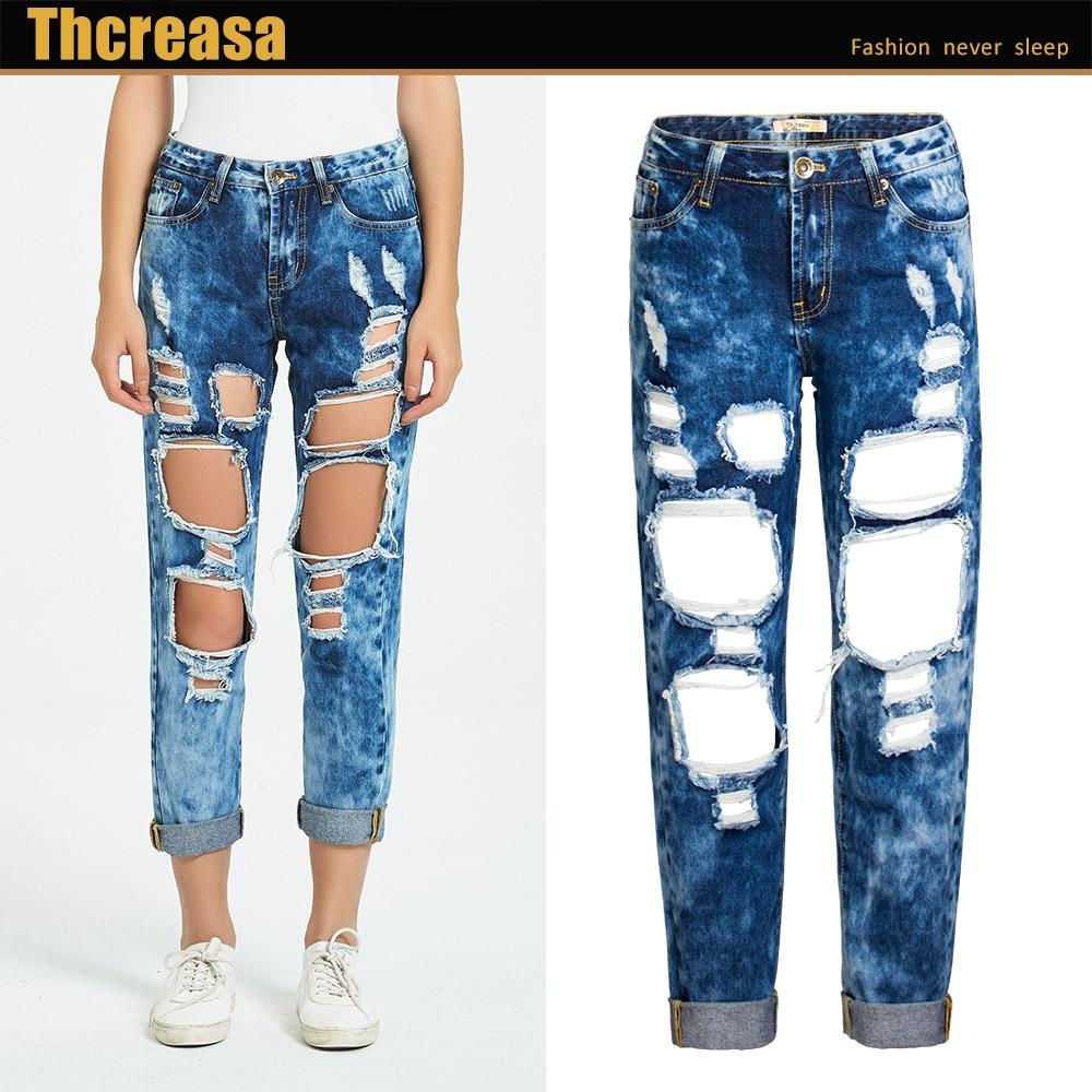 Hot Sale Popular Women's Hole Denim Jeans Loose Straight Short Pants BF Cropped Jeans Pants