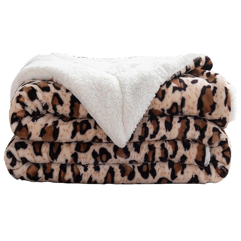 Animal Skin Leopard Zebra Sherpa Plush Blankets Winter Flannel Blanket For Double Bed Soft Warm Bedspread Travel Throw Blankets