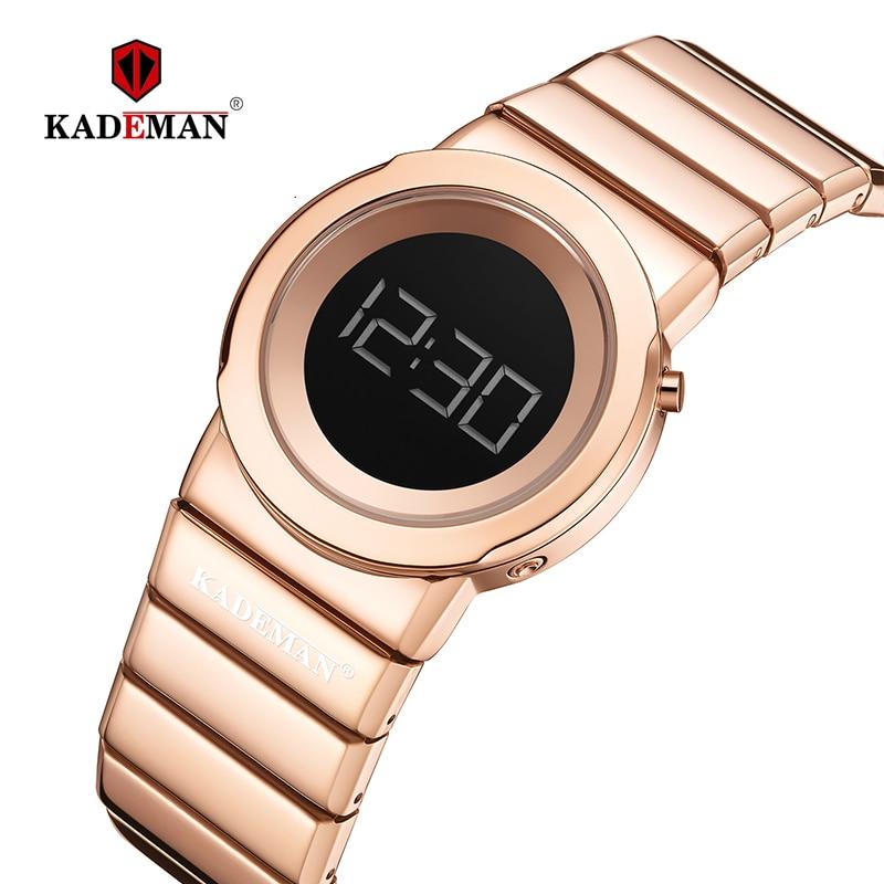 KADEMAN LCD Digital Ladies Watches New Fashion Women Wristwatch TOP Brand Casual Watch Full Steel Bracelet 3ATM Relogio Feminino