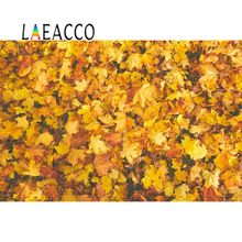 Laeacco Autumn Maple Yellow Fallen Leaves Wall  Child Portrait Photographic Backgrounds Photography Backdrops For Photo Studio