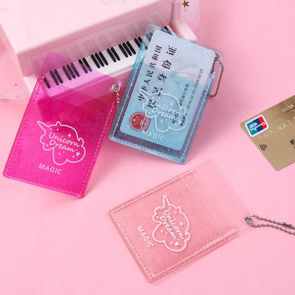Nowy 1pc kobiety brokat karta pcv uchwyt etui na dowód koreański Mini kredytowy pojemnik na kartę bankową monety kiesy dziewczyny breloczek autobus zestaw kart