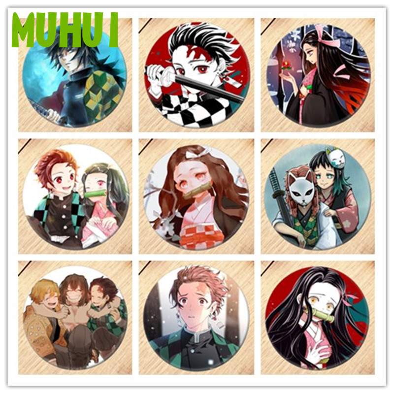 Free Shipping Anime Demon Slayer: Kimetsu No Yaiba Brooch Pin Badges For Clothes Backpack Decoration Children's Gift B014