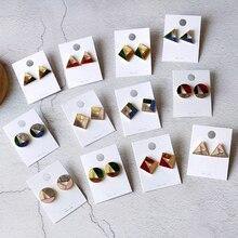 Korea Minimalist Acrylic Earrings Hit Color Mosaic Triangle Geometry Acetate Wild Simple Temperament Female