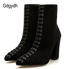 Gdgydh Women 2019 Zip Women Ankle Boots Laceing Fashion Female Short Boots Black Beige Flock Women Shoes Autumn News Hot Sales(China)