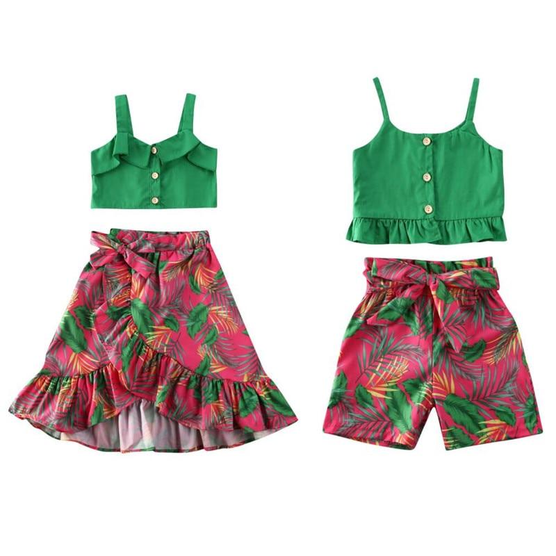 2020 Brand New Kids Girls Summer Clothes Beach Toddler Kids Baby Girl Green Sling Crop Top Shorts/Skirt  Outfit Children Clothes