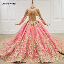 HTL1279 pink evening party dress long sleeves high neck full tassel floor length ball gown vestidos