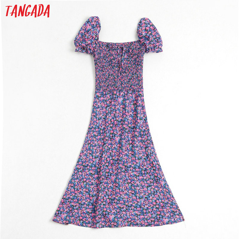 Tangada Fashion Women Purple Flowers Print Summer Dress Puff Short Sleeve Ladies Vintage Midi Dress Vestidos BE353