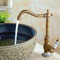 Grifos de latón para lavabo, montado en cubierta, lavabo giratorio de baño, grifos mezcladores de agua de cobre y Porcelana Vintage, grifo de grúa de bronce, 2021