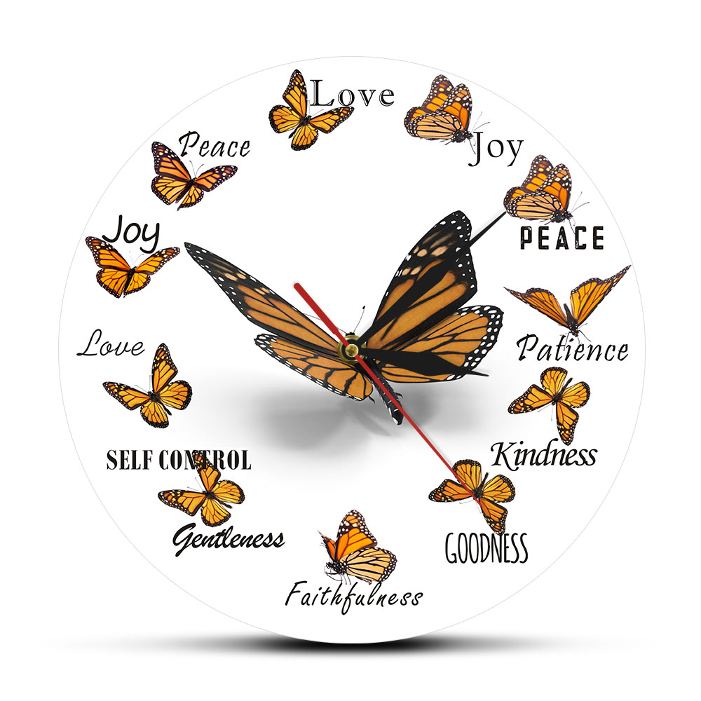Fruit Of The Spirit Christian Virtues Flying Butterfly Round Clock Monarch Butterfly Home Decor Wall Clock Butterfly Lover Gift