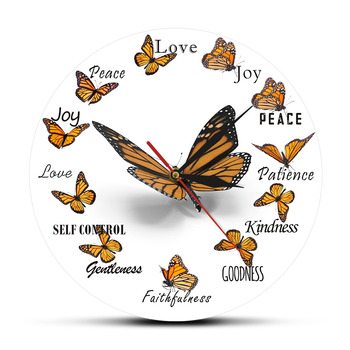 Fruit of the Spirit Christian Virtues Flying Butterfly Round Clock Monarch Butterfly Home Decor Wall Clock Butterfly Lover Gift фото