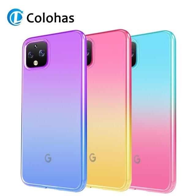 Caso de telefone de cor gradiente para google pixel 4 4xl 3a xl coque tpu macio silicone volta capa para google pixel 3a 3axl