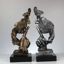 Resin Art Silence Mask Figurines Abstract Is Gold Statuettes Miniatures Sculpture Home Decoration Artwork G