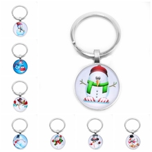 2019 Christmas Gifts Snowman Cute Series Keychain Glass Cabin Pattern Gift