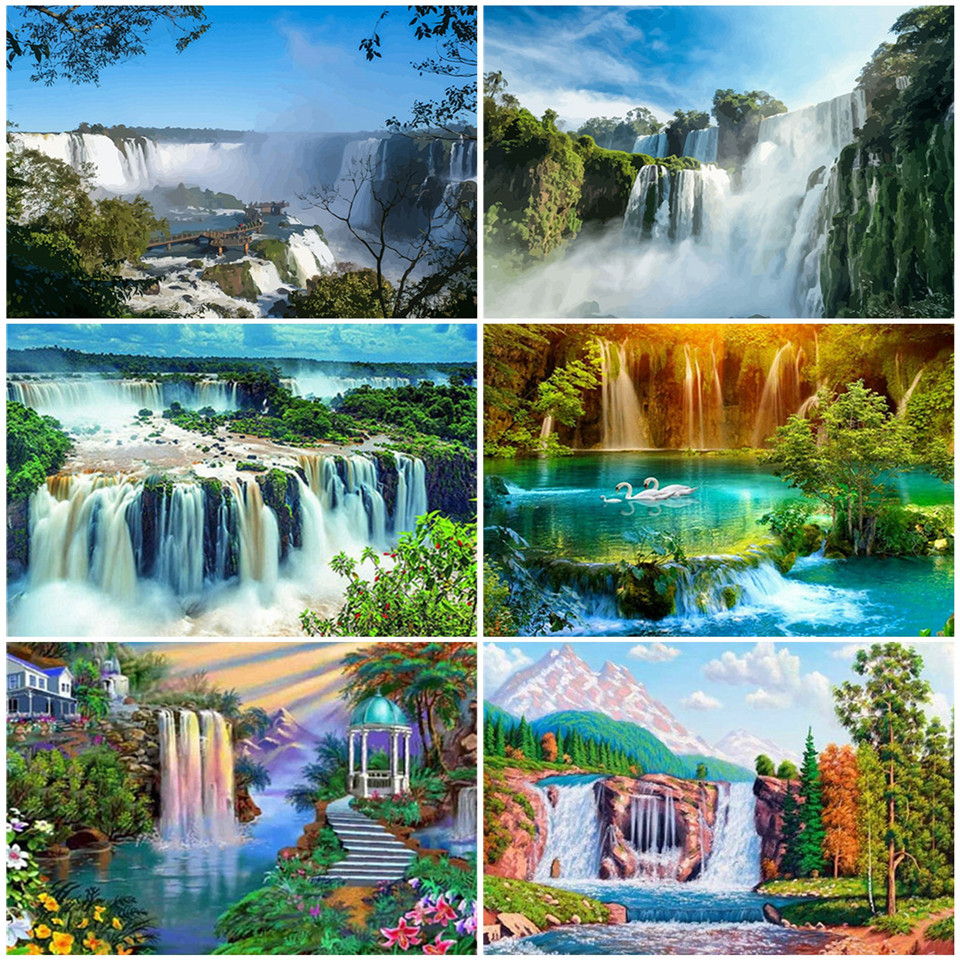 AZQSD Unframe DIY Oil Painting By Numbers Waterfall Home Decoration Acrylic Paint Drawing By Numbers Scenery Unique Gift