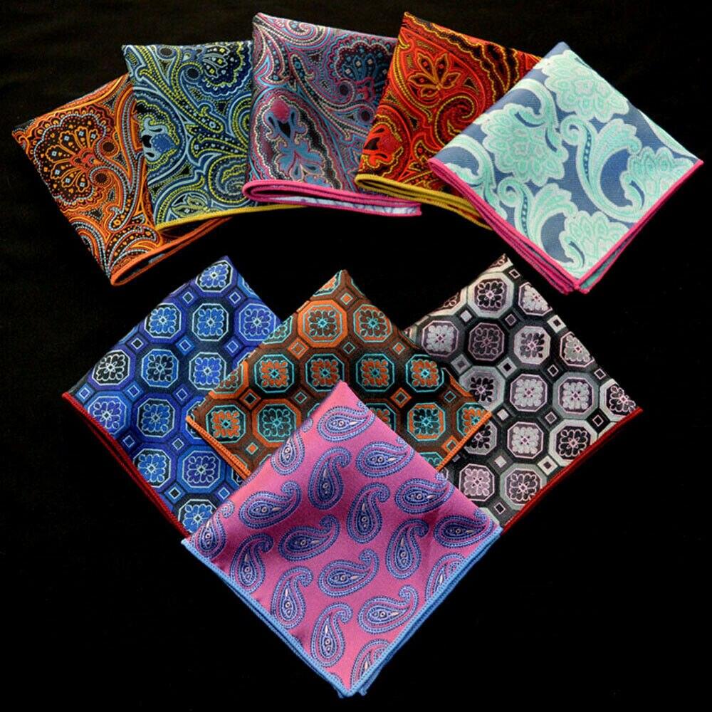 9 PCS Men Geometric Paisley Handkerchief Pocket Square Business Party Hanky BWTYX0311A
