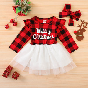 Christmas Letter Plaid Print Tulle Dress+headband Outfits Toddler Baby Girl Clothes Set My First Christmas Baby Girl Outfit