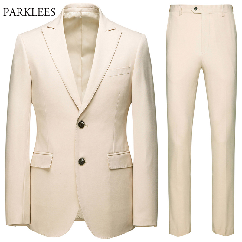 Classic Mens 2 Pieces Suits With Pants Brand Slim Fit Two Buttons Formal Business Dress Suit Groom Wedding Party Terno Masculino