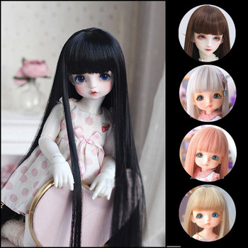 short bobo wig for bjd dolls 1 8 1 6 doll wig synthetic fiber doll wig high quanlity free shipping BJD sd 1/3 1/4 1/6 1/8 doll wig male and female dolls high temperature fiber heat resistant wire long straight bangs doll hair