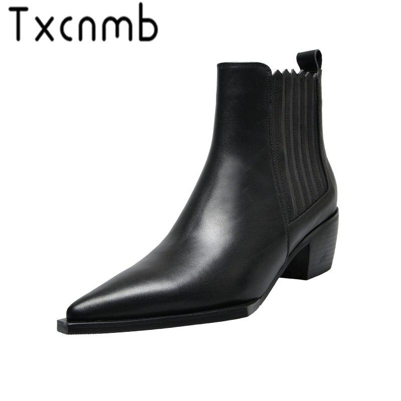 Xcnmb 여성 정품 가죽 부츠 brogue 발목 부츠 패션 chelsea med heels 숙녀 부티 가을 2019 숙녀 신발-에서앵클 부츠부터 신발 의  그룹 1