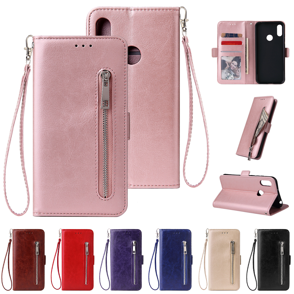 For Huawei <font><b>Honor</b></font> 6A 8X 8A 7A 7C 8S Wallet Leather <font><b>Case</b></font> fashion zipper <font><b>Flip</b></font> Stand for <font><b>Honor</b></font> 10i <font><b>9</b></font> 10 <font><b>Lite</b></font> Cover Mobile Phone Bag image