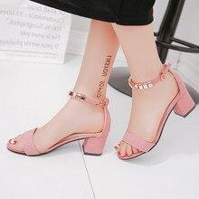 Летние женские сандалии с металлическими нитями и бусинами; обувь с открытым носком; женские сандалии; женская обувь на квадратном каблуке; обувь в Корейском стиле; гладиаторы