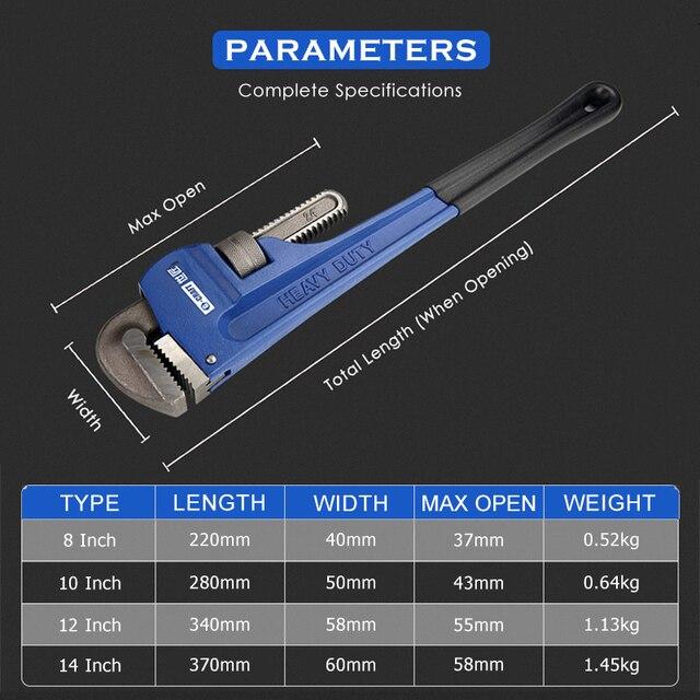 KALAIDUN Plumbing Pliers Pipe Wrench Industrial Heavy Duty Adjustable Anti-Corrosion Rust Large Open Spanner Plumber Repair Tool 6