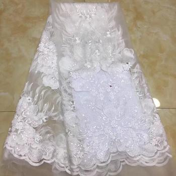 7 colors (5yards/pc) fancy embroidered tulle lace white color African French net lace fabric with sequins for wedding  FZZ745