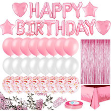 Pink Birthday Party Decoration for Girls Happy Birthday Banner Baloons Fringe Curtain Foil Tablecloth Heart Star Foil Confetti