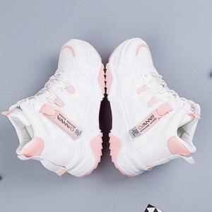 Image 4 - SWYIVY PU Chaussures Femme Chunky trampki dla kobiet obuwie 2020 wiosna wysokie góry kobiety białe buty oddychające buty damskie