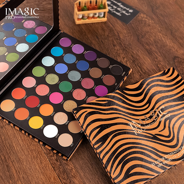 IMAGIC 35 color eyeshadow palette waterproof matte glitter eye shadow primer luminous eyeshadow ladies gift Qual Codigo Rastreio