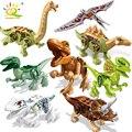 HUIQIBAO 8 шт. модель динозавра фигурки строительные блоки Юрского периода Раптор тираннозавр Трицератопс кирпичи мир детские игрушки дети
