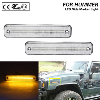 2X Clear lens LED Front side marker light lamp Amber light For Hummer H2 2003-2009