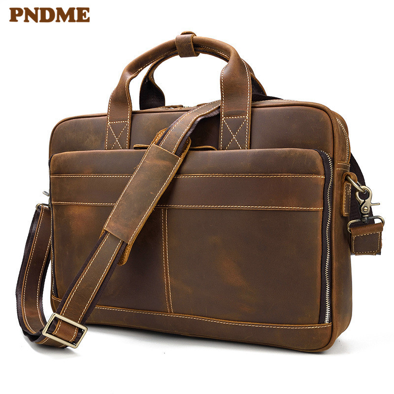 PNDME High Quality Simple Crazy Horse Leather Men's Briefcase Vintage Business Large Capacity Office Mens Laptop Messenger Bags