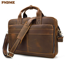 PNDME high quality simple crazy horse leather mens briefcase vintage business large capacity office laptop messenger bags