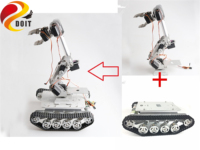 SZDOIT Full Metal TS100 Smart Tank Chassis + 8DOF Robot Arm With Gripper Kit Clawler Robotic Platform Motors Servos Educational