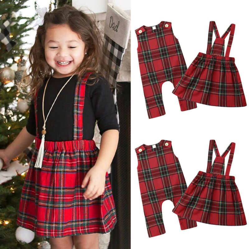 От 0 до 5 лет детские красные ползунки в клеточку/платье на бретельках для маленьких девочек одинаковая Рождественская одежда для сестер Рождественская одежда спортивный комбинезон без рукавов От 1 до 5 лет|Ромперы|   | АлиЭкспресс