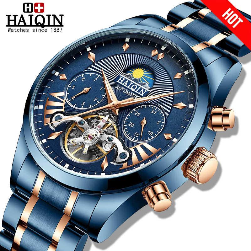 HAIQIN 2020อัตโนมัติผู้ชายนาฬิกาแบรนด์หรูผู้ชายนาฬิกาBlue Mechanicalนาฬิกาข้อมือMenกันน้ำReloj Hombre Tourbillon