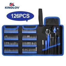KINDLOV tornavida seti hassas tornavida takım çantası manyetik Phillips Torx bit 126 In 1 tamir el aletleri telefon Laptop için