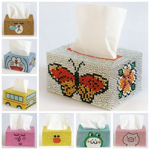DIY Special Shaped Diamond painting Tissue box Three-dimensional handmade art cosmetic tissue dispenser Children's cartoon decor