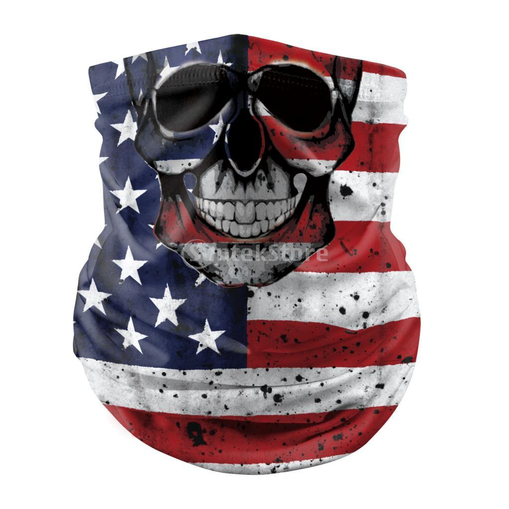 Silk Like Polyester Punk Cycling Face Cover Balaclava Soft Scarf Anti-UV Neck Scarf Outdoor Hiking Warmer Skull Face Cover