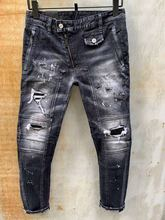 Jean en denim bleu pour homme, coupe slim, Style européen, coupe droite, extensible, taille masculine
