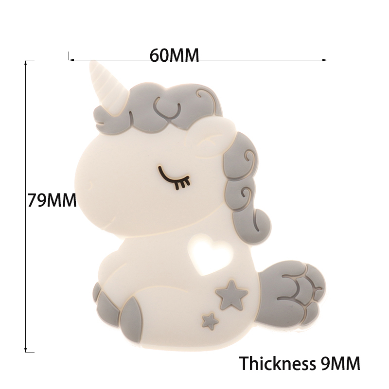 Image 5 - Fkisbox 10PCS Silicone Unicorn Baby Teether BPA Free Rodent Infant Teething Pendant Pacifier Clips Cartoon Animal Mordedor GiftsBaby Teethers   -