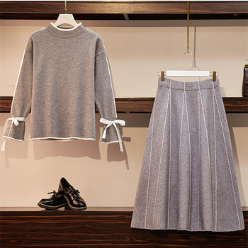 High Quality Women Sweater Skirt Suits Elegant Lady O-Neck Bow Knit Top+A-line Striped Pleated Knit Skirt 2-piece Sets Plus Size abstract striped pleated skirt