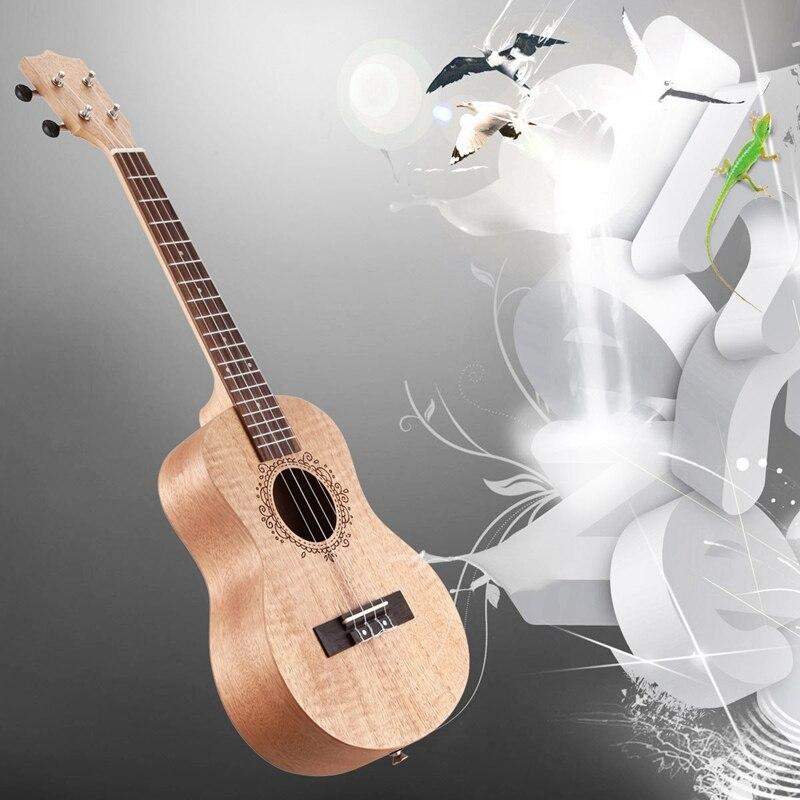 26 Inch Portable Okoume Wood Ukulele 18 Fret Tenor Ukulele Acoustic Cutaway Wood Color Guitar Mahogany Fit For Beginner Ukulele