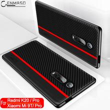 Dla Xiaomi Mi 9T Redmi K20 Pro przypadku z włókna węglowego skórzana tylna pokrywa dla Xiaomi Mi 10 9 SE Redmi uwaga 8 8T Pro K30 POCO X2 przypadku tanie tanio CENMASO Aneks Skrzynki Carbon Fiber Texture + PU Leather Redmi Note 8 Redmi Note 8 Pro Matowy Zwykły Odporna na brud Anti-knock