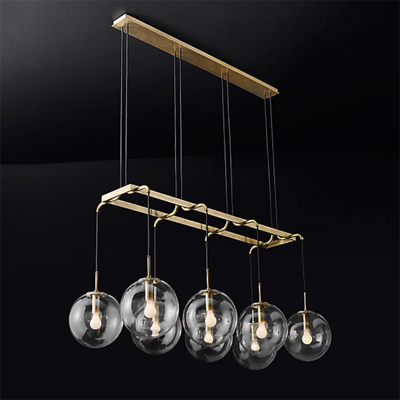 modern design glass ball chandelier 6/8/10 heads clear glass bubble lamp chandelier for living room kitchen black/gold light|Chandeliers| |  - title=