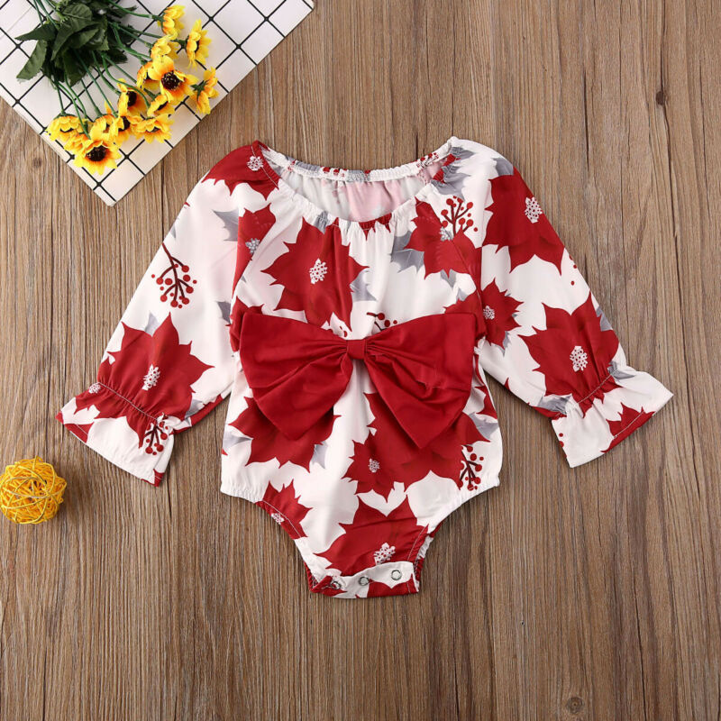 Pudcoco Newborn Kids Baby Girl Floral Printed Long Sleeve Clothes Floral Romper Jumpsuit Big Bow Slim Fashion Outfit